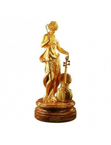 Figura Golden Lady with Viola Decoración bronce artesanal Soher